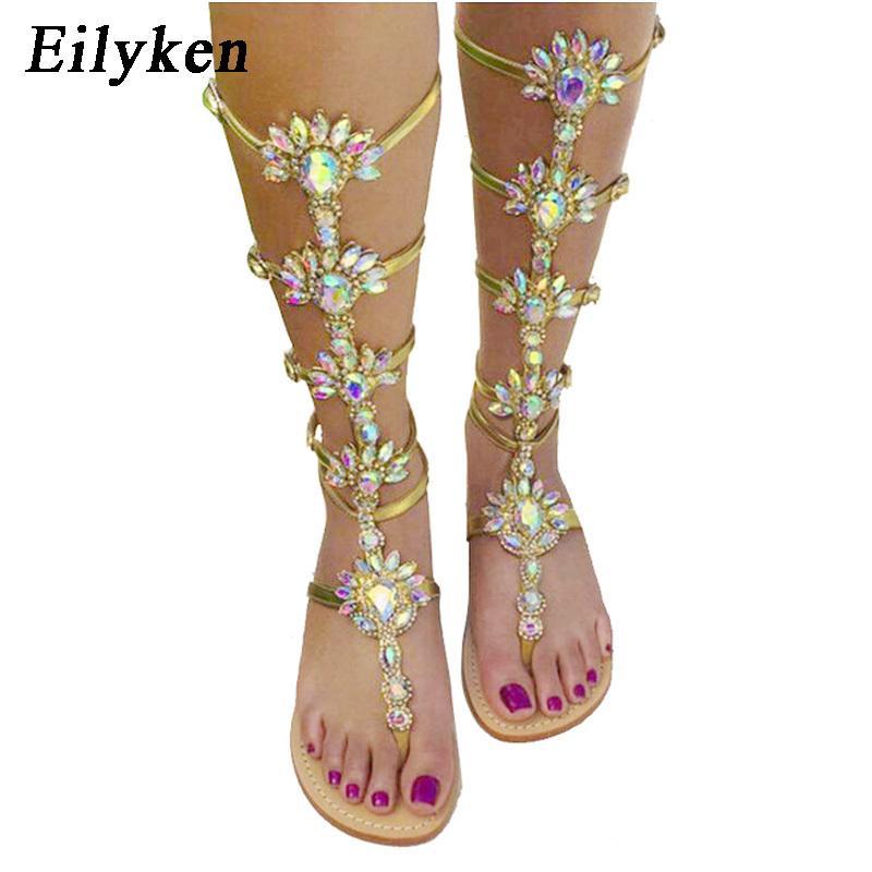 Eilyken Summer Flats Sandal Gladiator Gold Rhinestone Knee High Buckle Strap Woman Boots Bohemia Style Crystal Beach Shoes Y19070303