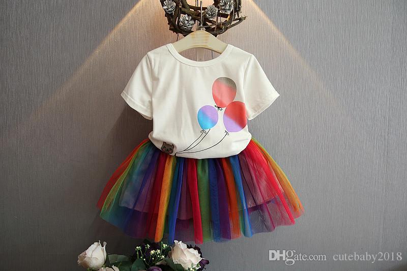 Baby Girl Dress Kids Designer Girls Clothes 2019 Fashion Summer Short Sleeve Shirts Print Balloon Elastic Rainbow Skirts Girls Clothing Sets