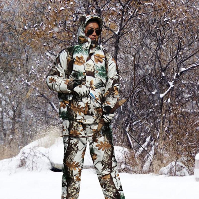 Inverno impermeável lã quente Hunting Camouflage terno da neve Bionic Camuflagem Ghillie Outdoor Tiro Caminhadas Costume