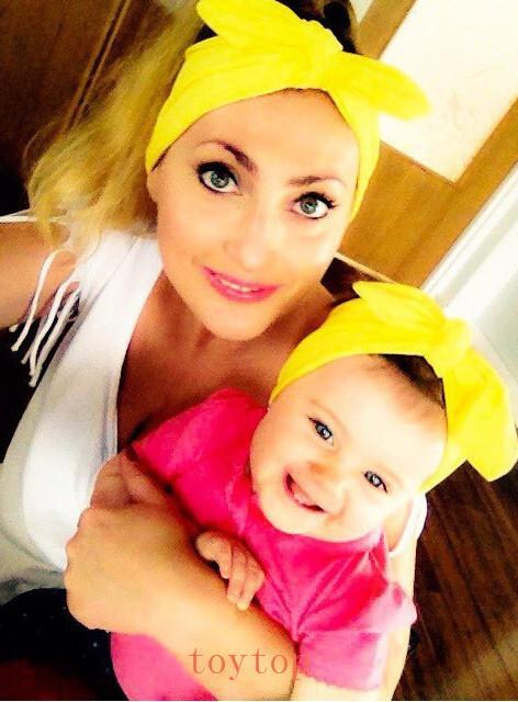 Orejas de conejo onda banda para el cabello estilo de bebé dulce linda del arco de los niños Headwear lindo estupendo de padres e hijos Accesorios para el cabello salvaje