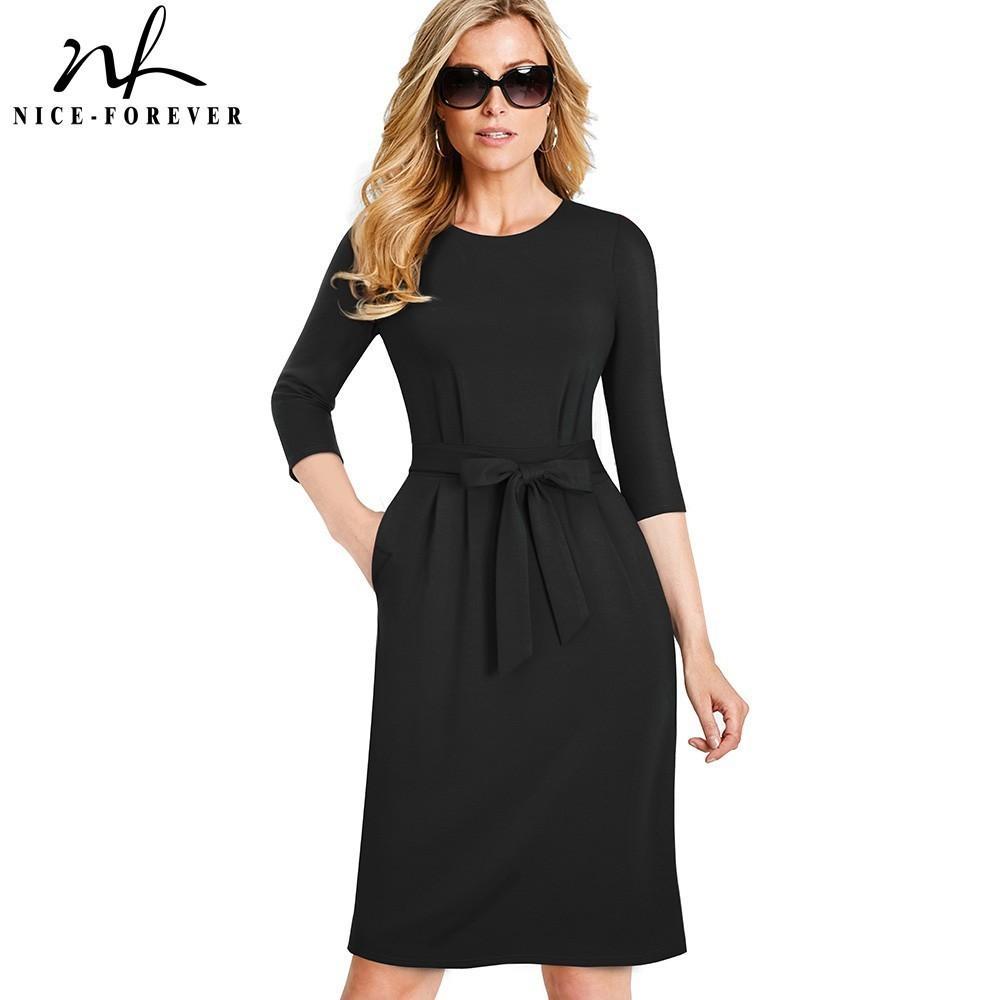 Nice-forever Mujeres Vintage Causal Wear To Work Elegante Con Bolsillo Vestidos Business Party Bodycon Oficina Vestido Mujer B462 Y19051001