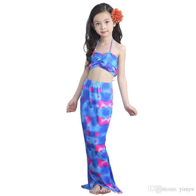 3 PZ Ragazze Mermaid Tail Swimwear Bambino Bambini Principessa Dress Costume Da Bagno Costumi Da Bagno Costumi Da Bagno Spiaggia Costumi Da Bagno Bikini