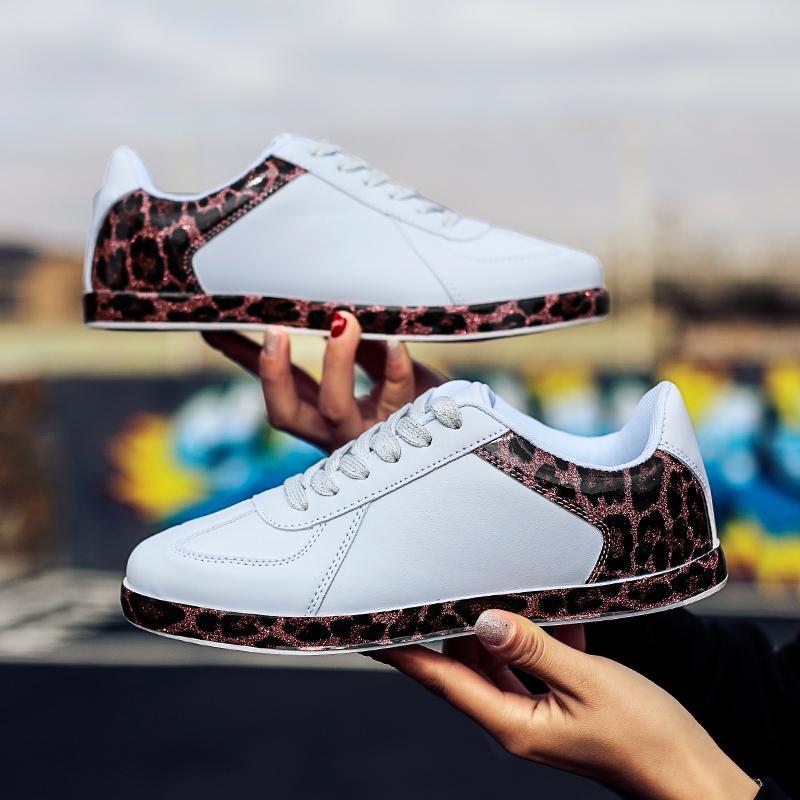 Bahar Leopar Casual Deri Düz Kadın Ayakkabı Kadın Ayakkabı Düşük Top Dantel-up Beyaz Sneakers tenis masculino adulto