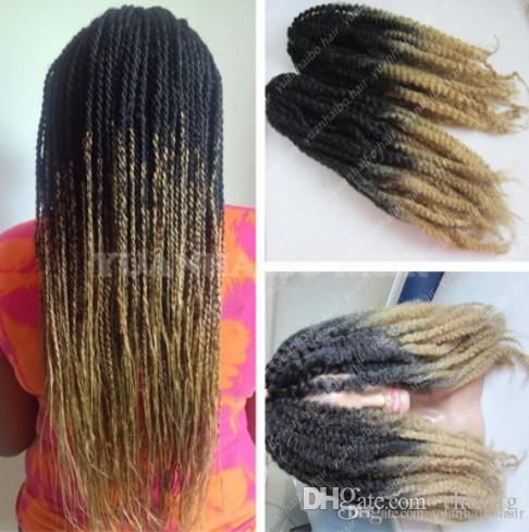 12 paquetes de cabeza completa Dos tonos Marley trenido Hair 20 pulgadas Blonde negro Ombre Extensiones de cabello sintético Kinky Twist Braiding Fast Express Envío