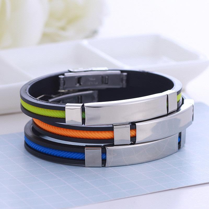 doces cor silicone spiricle pulseira tag de aço inoxidável pulseira Designer pulseira pulseira pulseira manguito designer de jóias B304