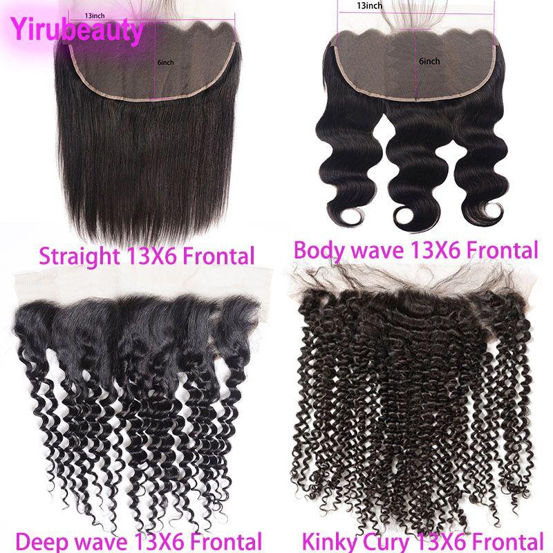 Brasilianisches Reines Haar 13x6 Spitze Frontal Gerade Körperwelle Deep Wave Kinky Curly Peruanisches indisches Malaysisches menschliches Haar 13 von 6 Spitzeverschluss