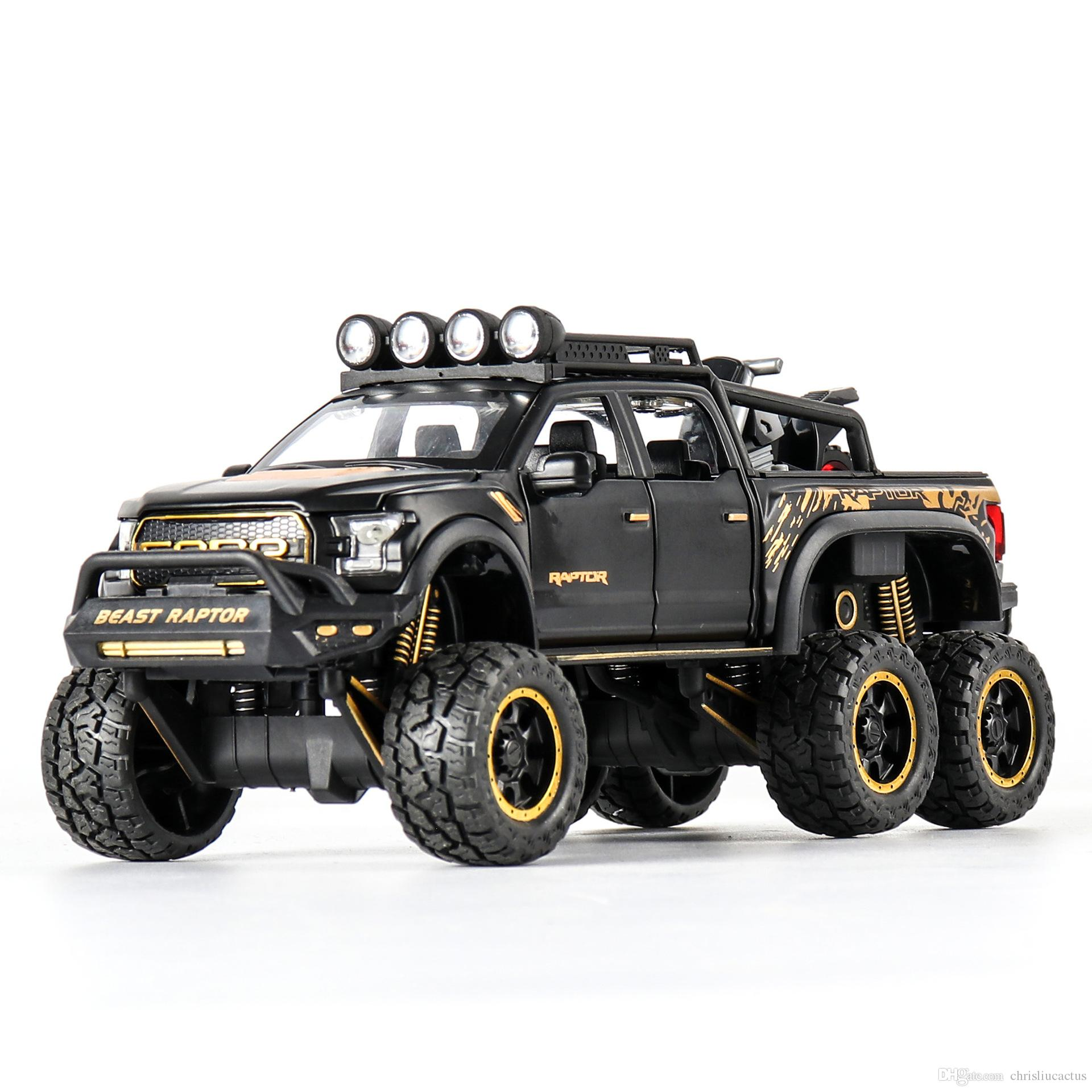 Ford Raptor F150 Alloy Pull-Back Off-road Vehicle Six Doors Open Color Box Package 1:28 Car Model Toy