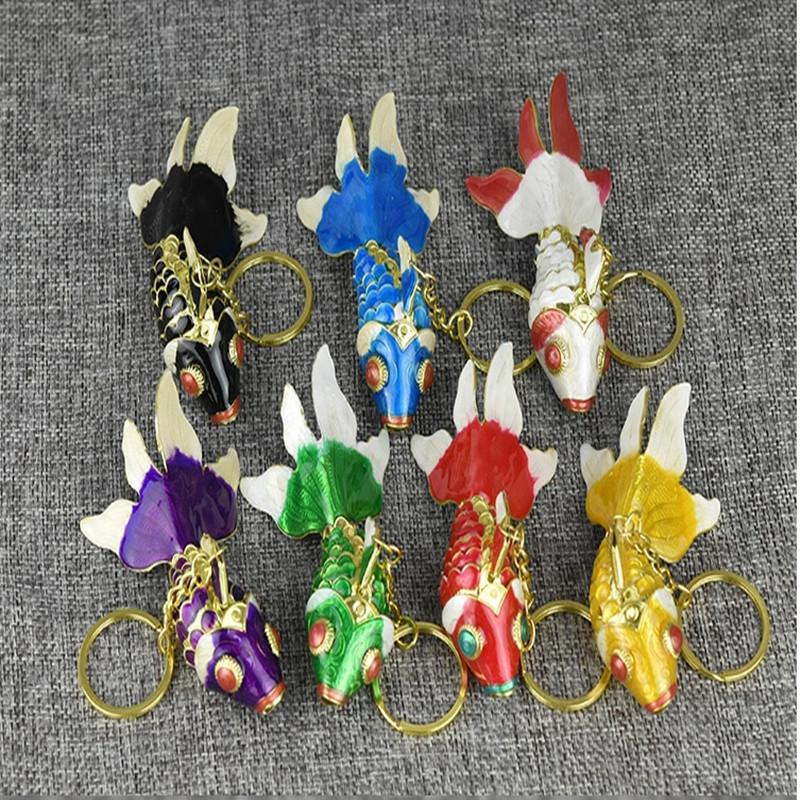 10pcs 5.5cm 7.5cm 9.5cm Enamel Swing Fish keyring Keychain with box Vivid Goldfish Charms Keychains Wedding Birthday Party Gifts for guests