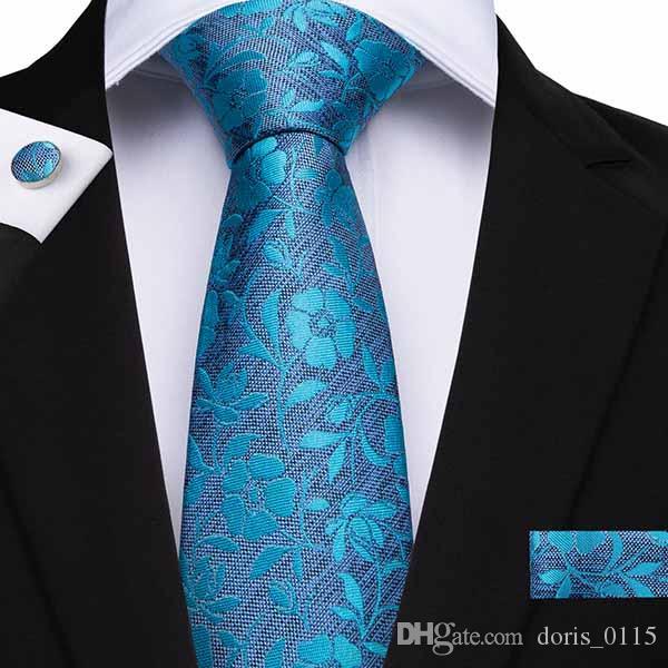 하이 타이는 150cm 타이 손수건 커프스 잡초 파티 타이 SN-7116와 100 % 실크 제 크리스마스 넥타이와 밝은 파란색 꽃 남성 넥타이 망