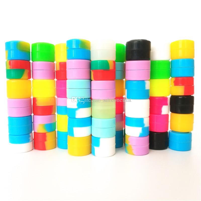 Los Angeles ABD'de STOK HıZLı KARGO! 100 adet / grup Dabs için 2 ml mini karışık renk silikon konteyner Yuvarlak Şekil Silikon Konteynerler balmumu