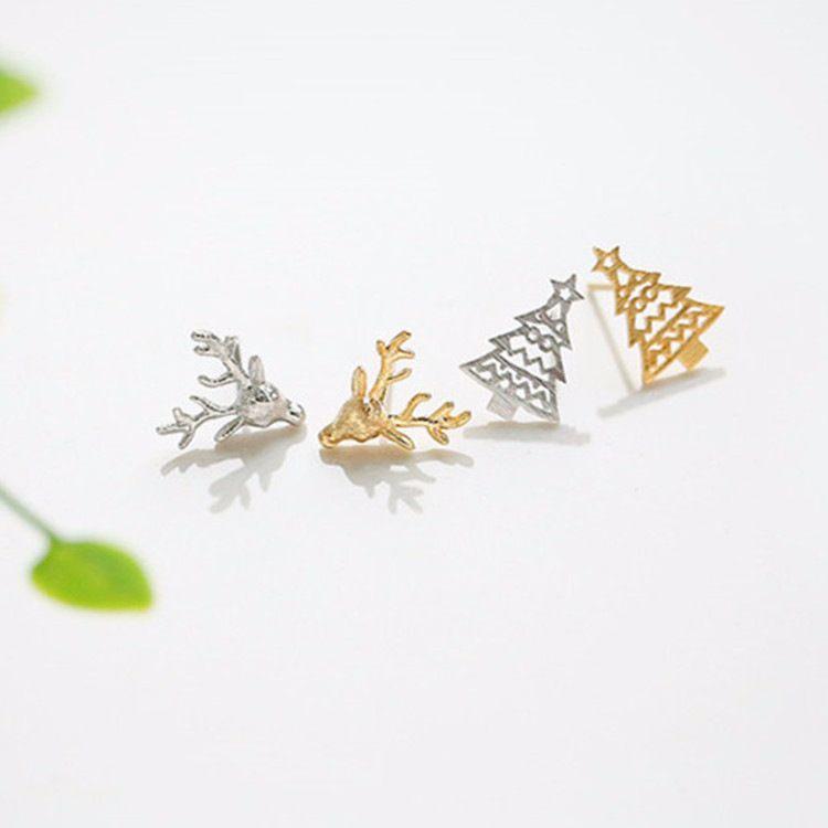 B Tao Versorgung S925 Sterling Silber Ohrringe kleine Liebe Sterling Silber-Ohr-Bolzen-Ausschnitt-Weihnachtsbaum-Ohr-Bolzen-Hipster Silber Zubehör Mo
