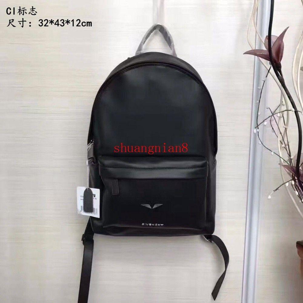 Black New logo print backpack Top full leather handle Simple style Adjustable shoulder strap off-w1622