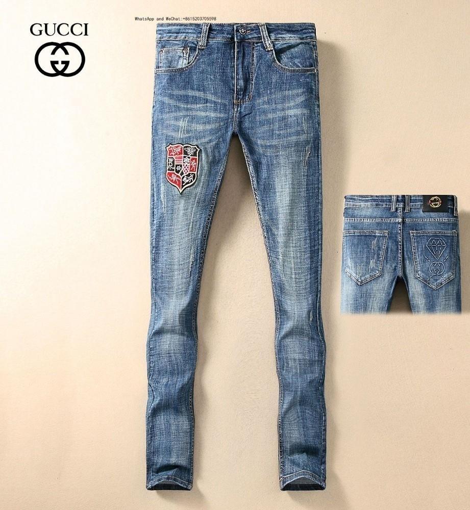 Europa Mode Hole Man Jeans Blau Elastic Retro dünne kleine gerade Cowboyhose aus reiner Baumwolle