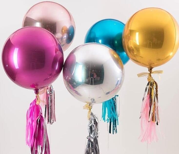 4D Foil Ballon 22inch ronde feuille d'aluminium Ballons métal Ballon de mariage Décoration de fête d'anniversaire de baby shower