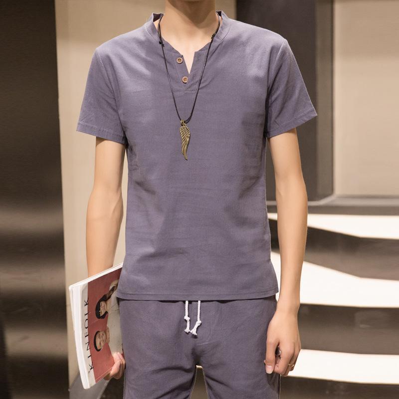 Yaz Erkek Casual Pamuk Keten Seti Moda Katı Renk Slim Fit Gençlik Kısa Sleeve tişört şort İki Parçalı Set Erkek