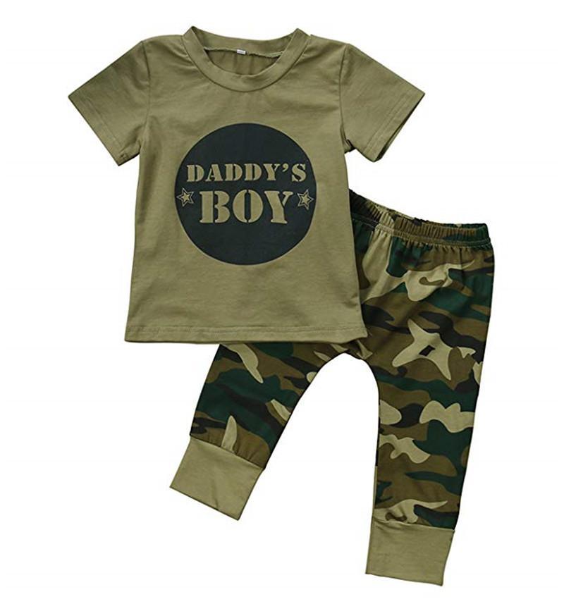Designer bambino dei bambini coprono cotone organico della ragazza del neonato camuffamento manica corta T-shirt Tops + pantaloni lunghi verdi Outfit attrezzatura casuale