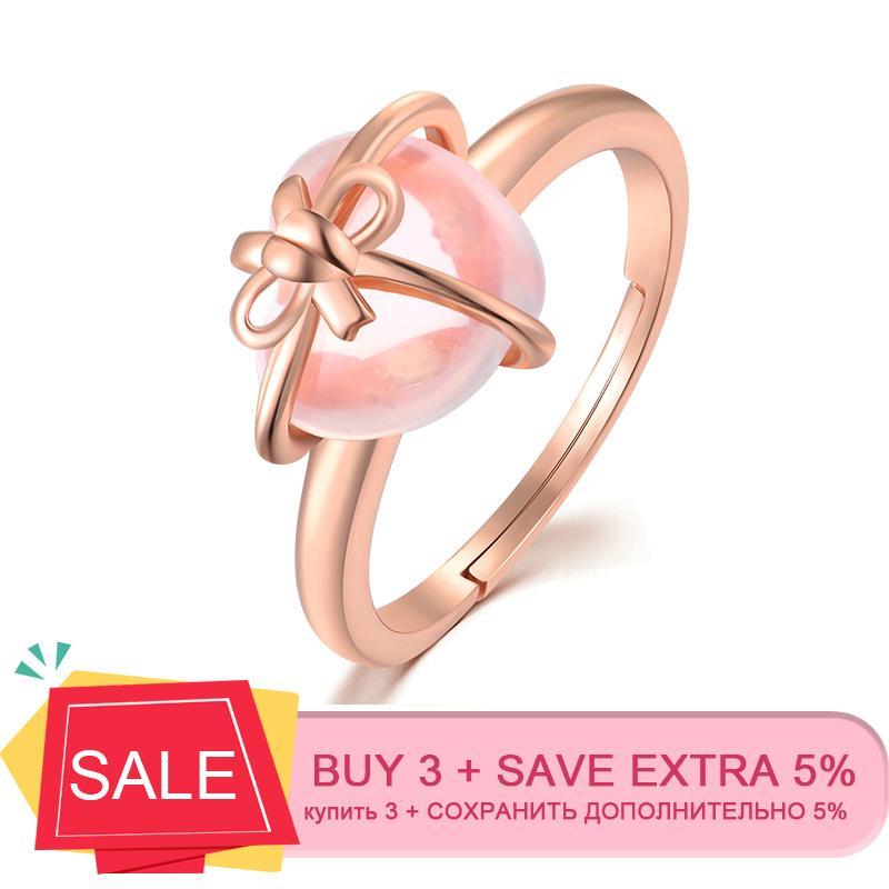 Lamoon 925 Sterling Silver Ring Gemstone Quartzo Rosa de Ouro 18K Fine Jewelry coração bowknot casamento da faixa LMRI051 Y200321