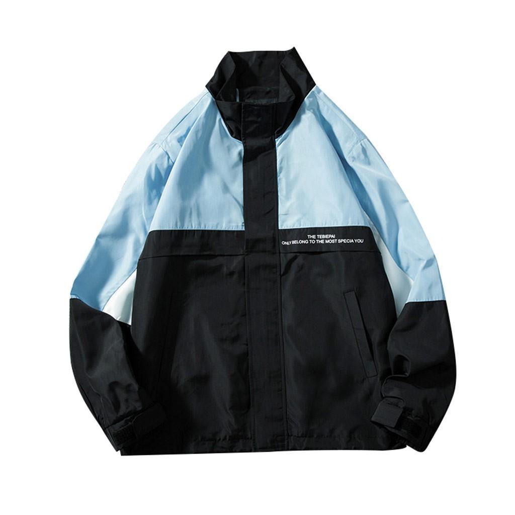 Novo estilo mens jaquetas e casacos casaco fashion solto lapela Costura Blusa Tamanho Grande Brasão streetwear Chaquetas para hombre
