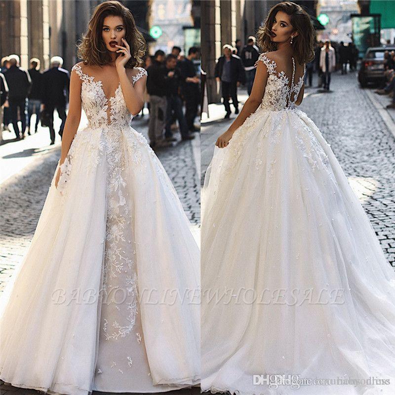 Compre Románticos Vestidos De Novia 2019 Vestidos Desmontables Elegante Sheer Mangas Cap Apliques 3d Flores Acanalada árabe Dubai De Novia A 13669