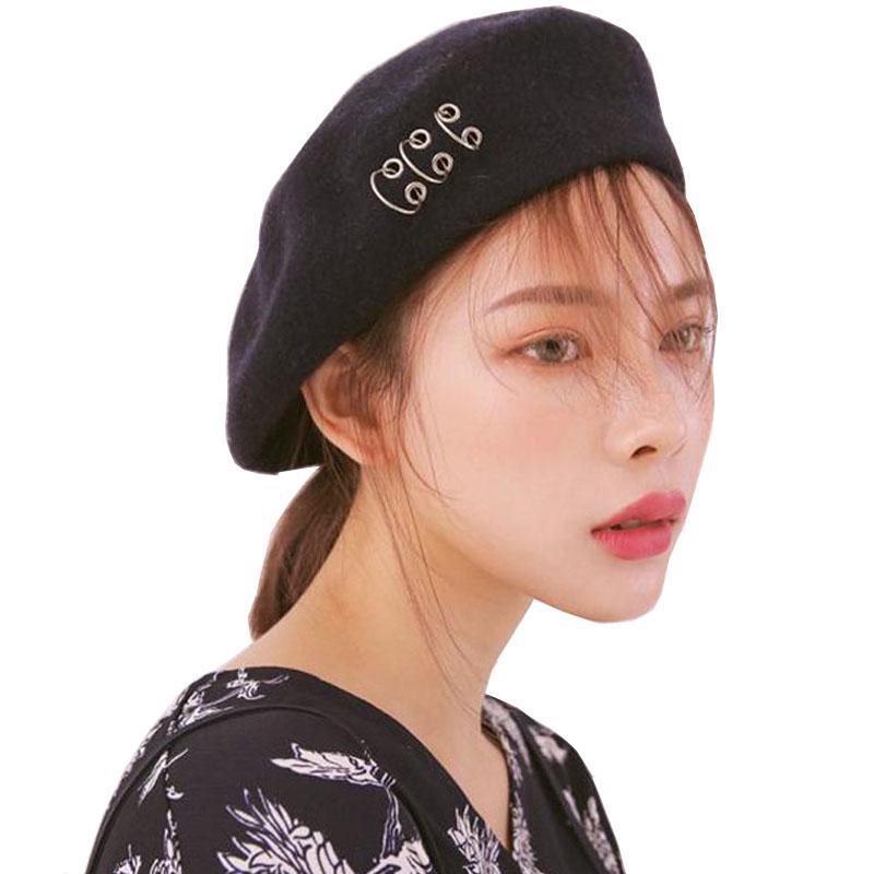 الدهان الكلاسيكي على الطراز الكوري قبعة Winter Woolen حلو الدائرة الدائرية الأنثوية Beret Hat Boinas Para Mujer Berreto Donna