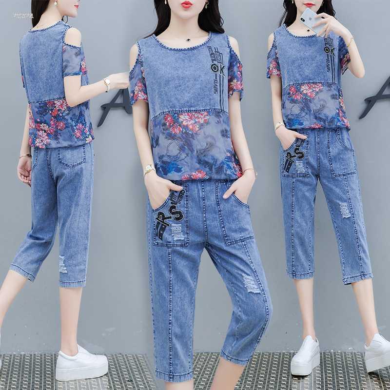 자수 데님 정장 2020 새로운 여름 패션 데님 여성의 코튼과 리넨 인쇄 짧은 소매 바지 두 벌의 양복