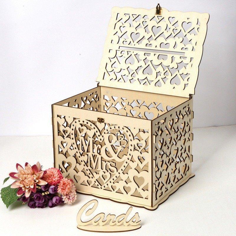 Tirelire en bois avec Verrou carte bricolage cadeau de mariage boîte Belle décoration Fournitures de mariage pour Birthday Party # 1