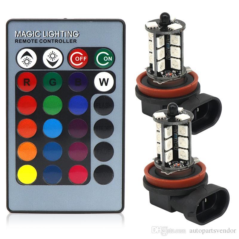 2pcs inalámbricos remotos 5005 27SMD Multi-Color RGB LED H11 estroboscópica LED Replacement bombillas para las luces antiniebla o las luces de conducción 12V CC
