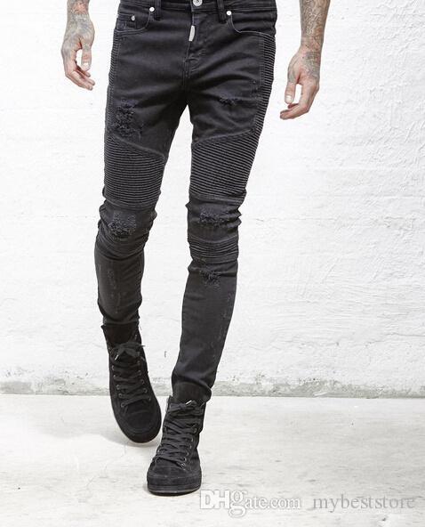 representam roupas de grife calças SLP azul / preto mens destruídas finos homens denim reta motociclista jeans skinny jeans rasgados 28-38