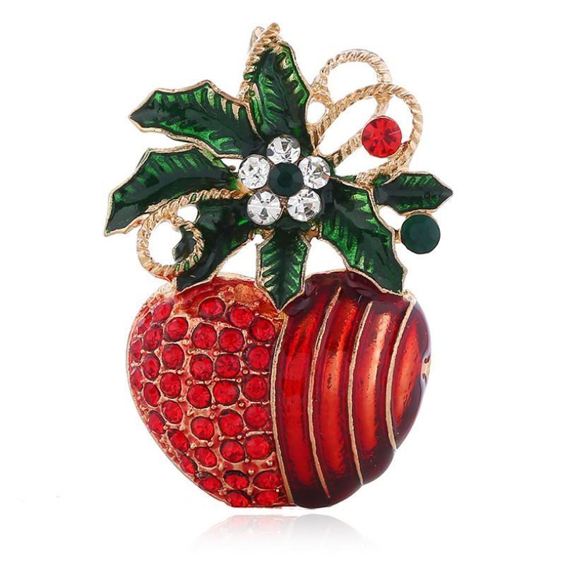 Trendy Noel Red Apple Broş Triko Pin Badge Pet Eşarp Toka Kuyumcu tali Parti Takı