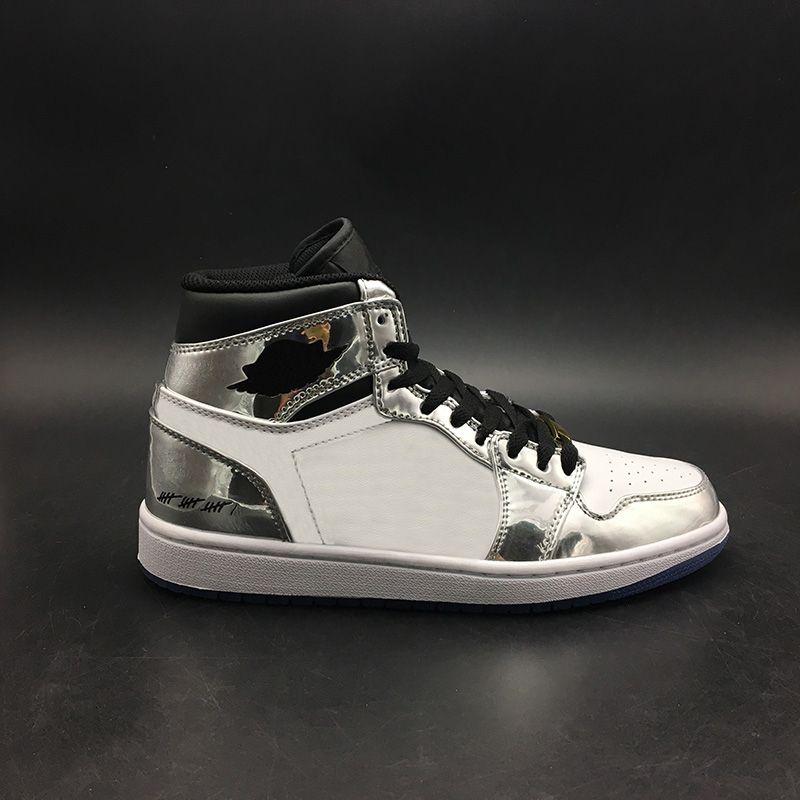 (Sem Caixa) passar os Sapatos Tocha 1s Basquetebol Branco Prata Com Box 2019 New Sneaker Mens Top Trainers Tamanho 7-13 Michael Sports