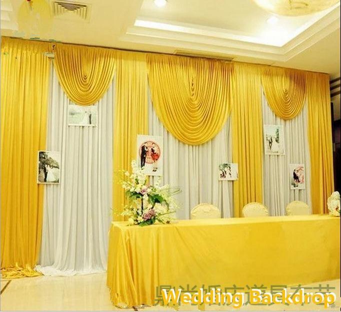 3X6M 10ftx20ft اللون الأصفر الزفاف خلفية سوجس الساخن بيع الحرير الثلج Backdround الستارة الستار حفل زفاف الديكور