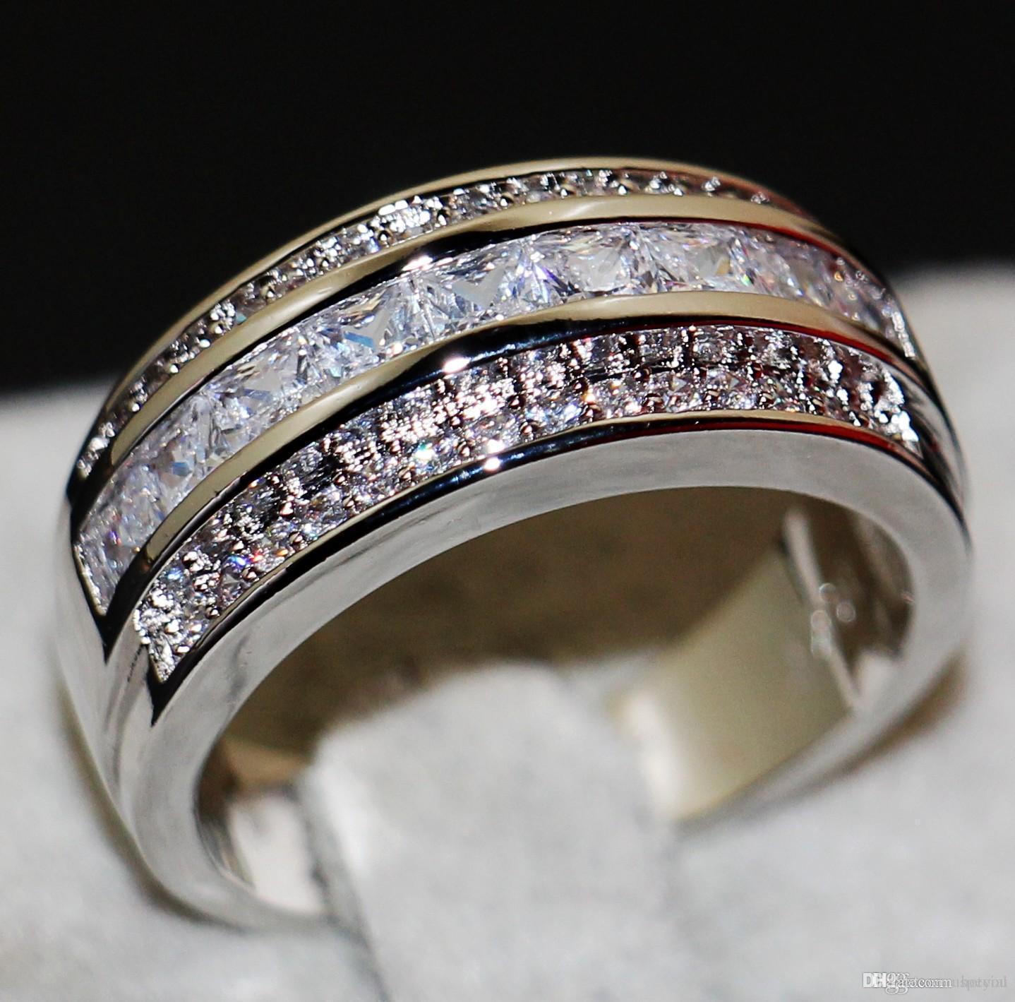 Victoria Wieck Yeni Geliş Moda Takı 10KT Beyaz Altın Aşıklar Hediyesi için Prenses kesim Beyaz Altın cz Elmas Erkekler Wedding Band Yüzük Dolgulu