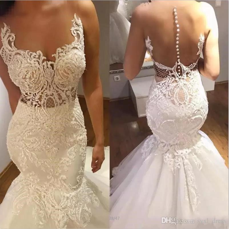 2019 Mermaid Wedding Dress vestido de novia Lace Applique Custom Made Sweep Train vintage wedding dresses