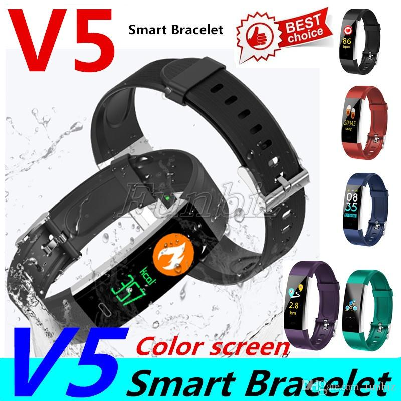 V5 Smart Bracelet Fitness Tracker Color Screen Fitness Watch Activity Tracker Smart Band heart rate monitor Bluetooth Wristband