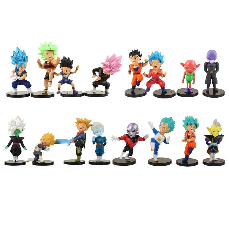 16 pçs / lote Dragon Ball Goku Gohan Vegeta Troncos Preto Goku Zamasu Broli Jiren Hit Cabba Grande Sacerdote Kale Figura Brinquedos Bonecas Y190529