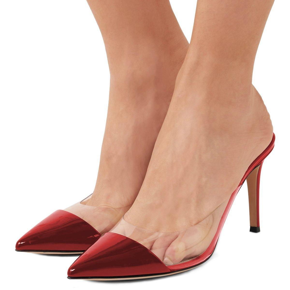 Fashion2019 Fashion Latest Single Shoe Sharp Spelling Color Pvc Fine With Go Excellent High-heeled Shoes Will Code
