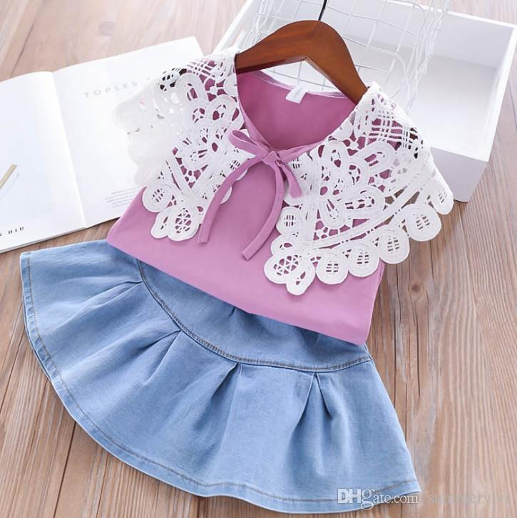 3dd2c7b1bc1a ... Girls lace-up Bows lace hollow crochet falbala lapel vest tops+denim  pleated skirt ...