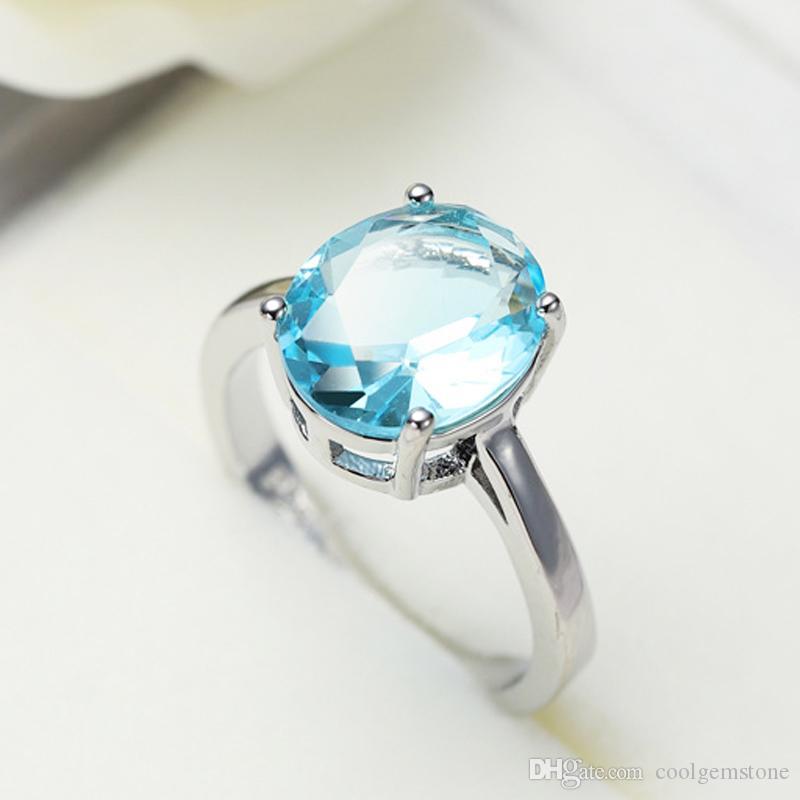 Luckyshine Heißer Verkauf 6 Teile / los 925 Silber Mode Charms Männer Frauen Hochzeit Ringe Oval Zirkonia Blau Diamant Edelstein Ringe Schmuck