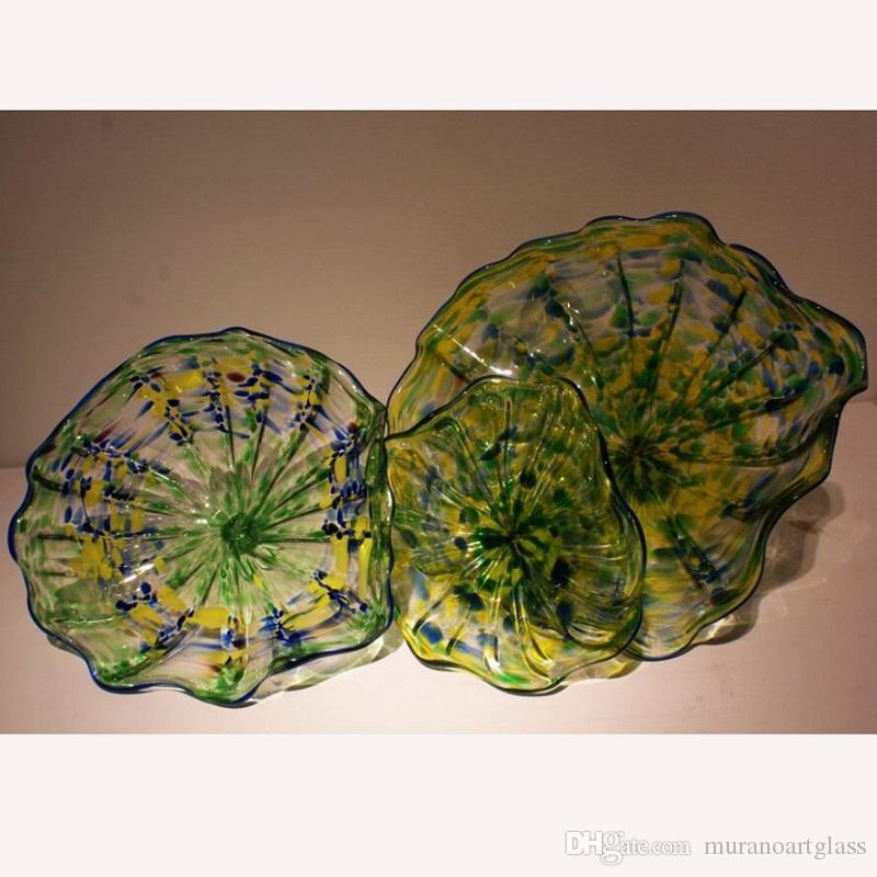 ديكور المنزل مهب لوحات الزجاج جدار الفن الملونة مورانو فن الزجاج جدار أضواء LED مع لمبات الديكور زفاف لوحات الجدار الزجاجي