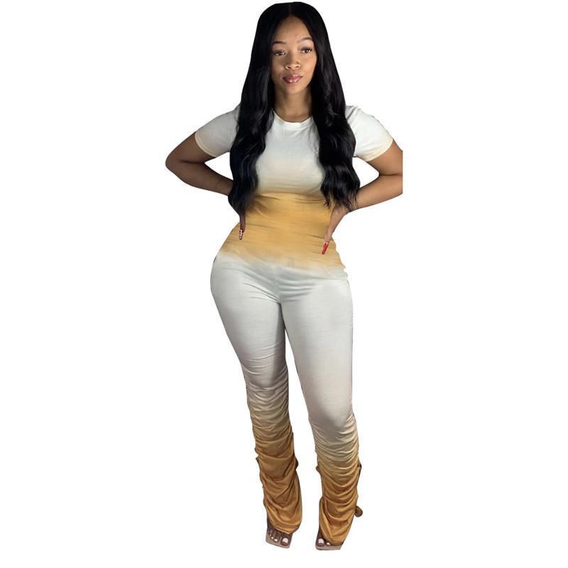 Kadın İki Adet Pantolon Moda Mürettebat Yaka Kısa Kollu Üst Yığın Pantolon Gradyan Renk 2PC Seti
