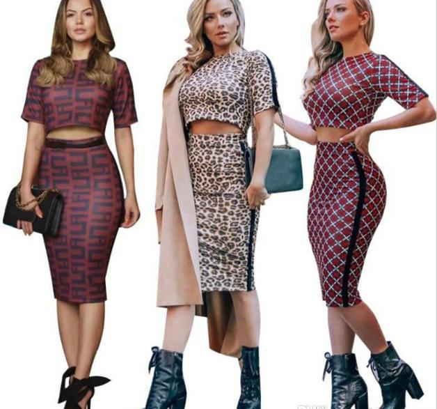 Women Designer 2 Piece Dress Sexy Showing Belly Button Skinny Two Piece Sets Fashion Casual Female Clothing