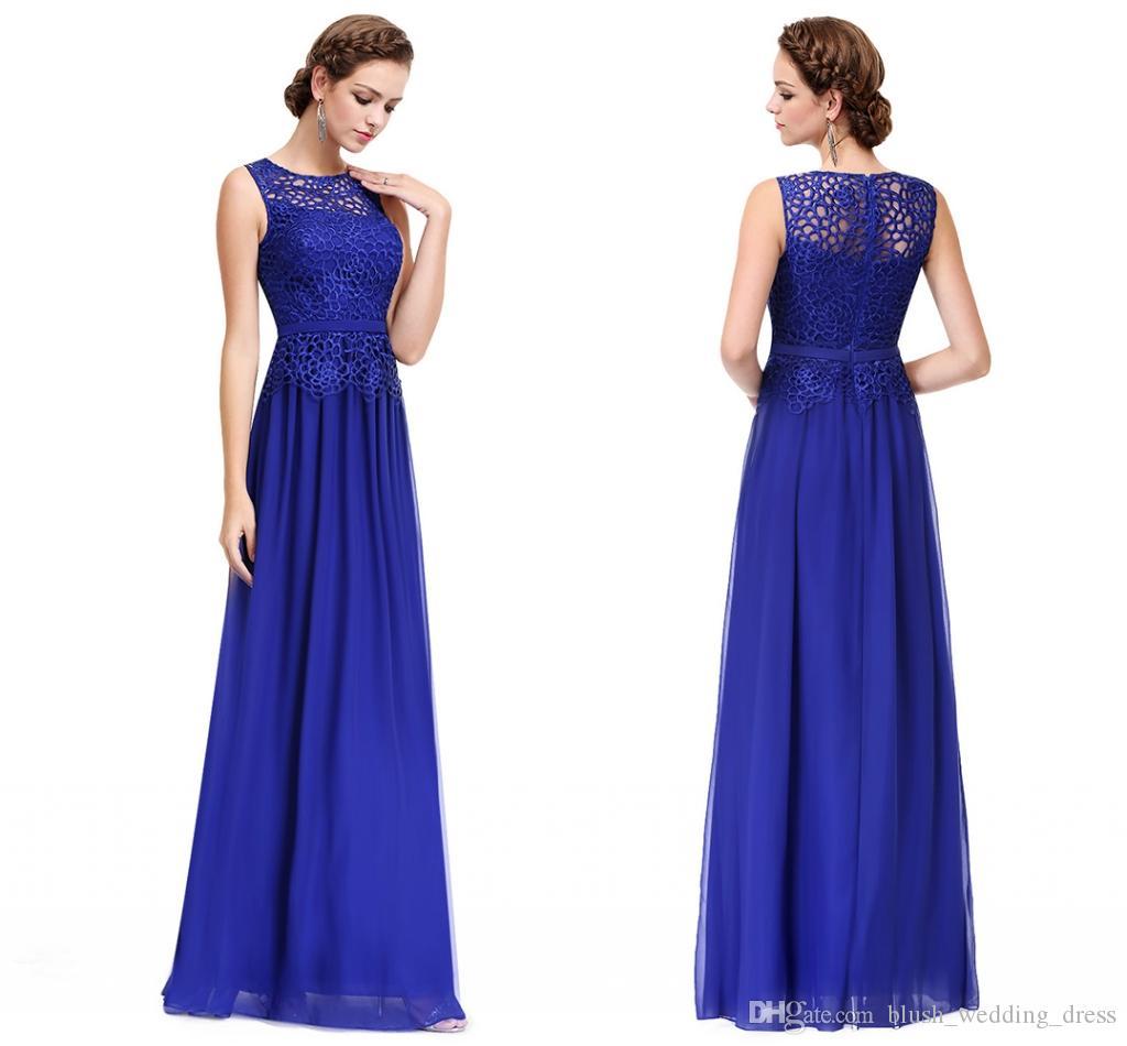 High Quality New Elegant Lace Sleeveless Long Formal A Line Evening Dresses Royal Blue White Chiffon Evening Prom Dresses HY145