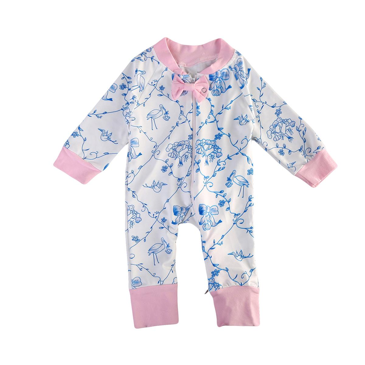 Nouveau-né bébé fille manches longues Floral Bow Romper Jumpsuit Automne Vêtements Outfit