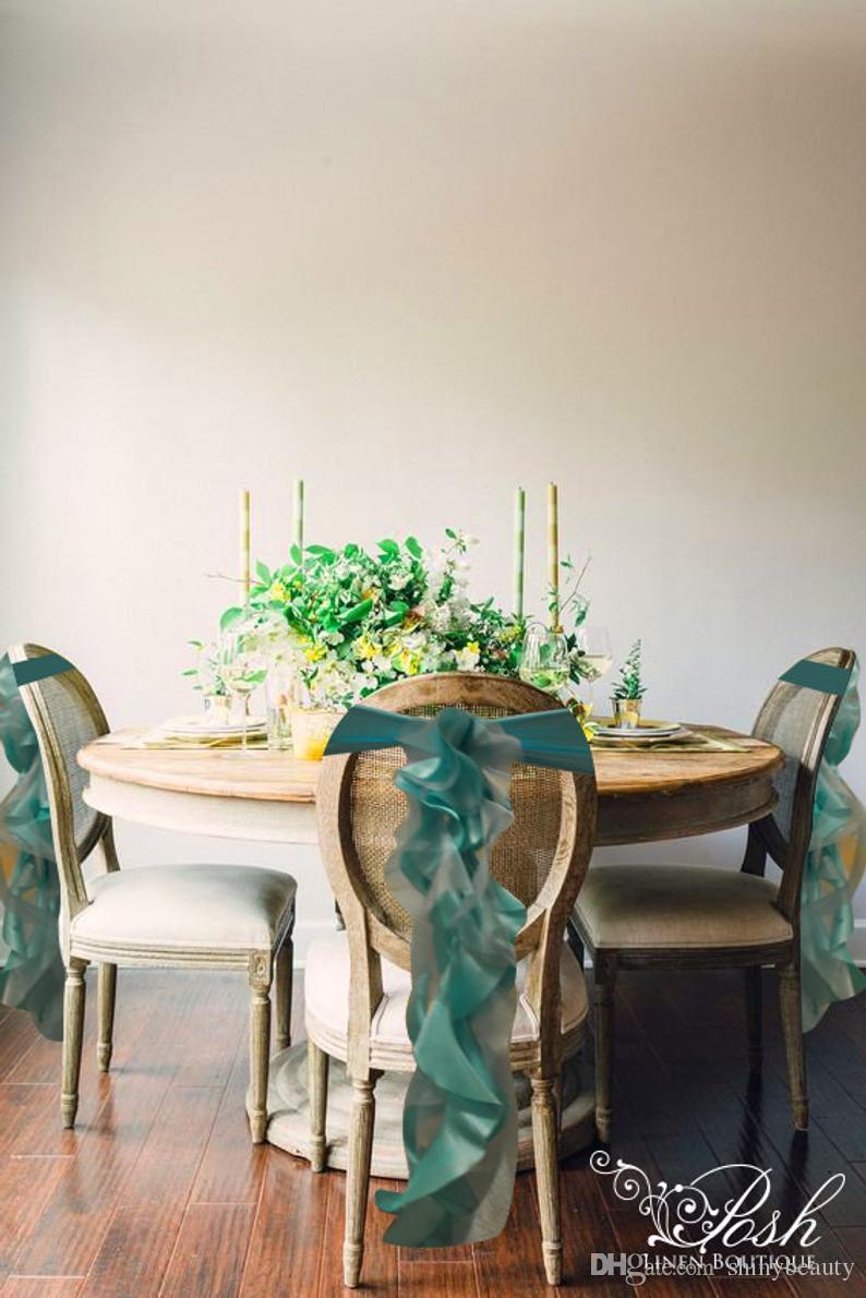 Taffeta Organza Ruffles Vintage 2019 Wedding Chair Covers Cheap Fashion Chair Sashes Elegant Wedding Decorations Wedding Accessories CS03