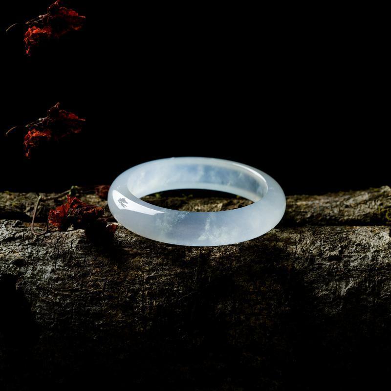 Enviar Certificado birmano natural del jade 54mm-62mm Color de la pulsera de luz elegante princesa brazalete de jade Enviar mamá de la novia
