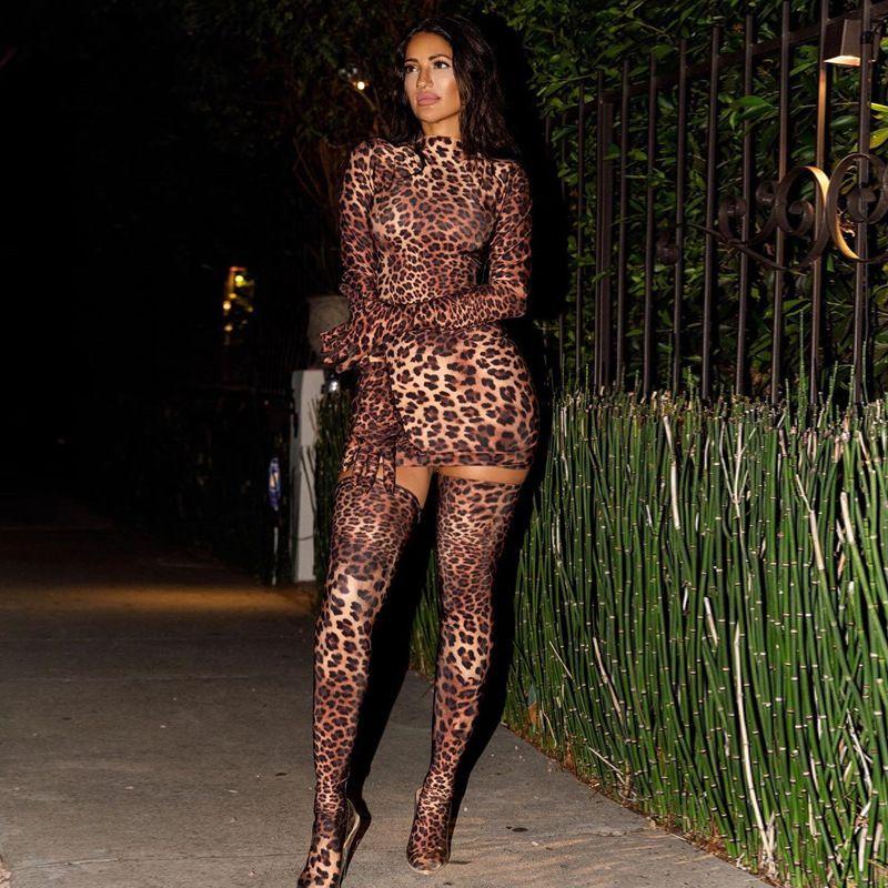 2020 Neue Spring Sexy Leopard Print Hüftpaket Mini Kleid mit Handschuhen Strümpfe Frauen Party Nachtclub Bodycon Skinny Vestidos