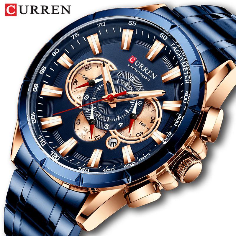 Montre Top Luxe Marque Big Dial Quartz Bleu Hommes Montres Chronographe Sport Montre-bracelet en acier inoxydable Homme Date de l'Horloge Curren hommes