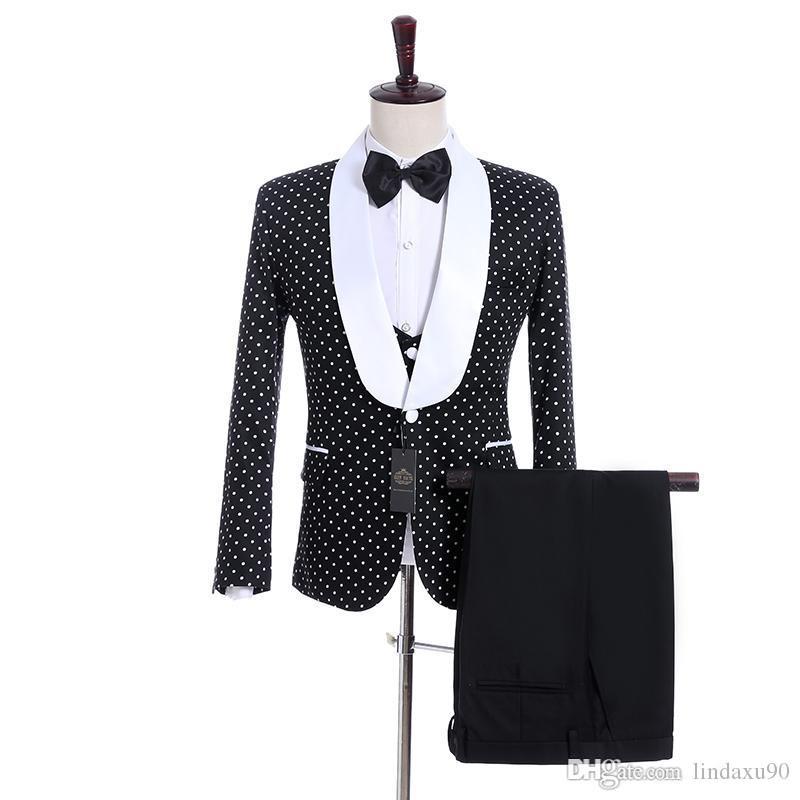 Smoking do noivo preto branco Dot Mens casamento smoking branco cetim lapela lado ventilação homem jaqueta Blazer 3 peça Suit (jaqueta + calça + colete + gravata)