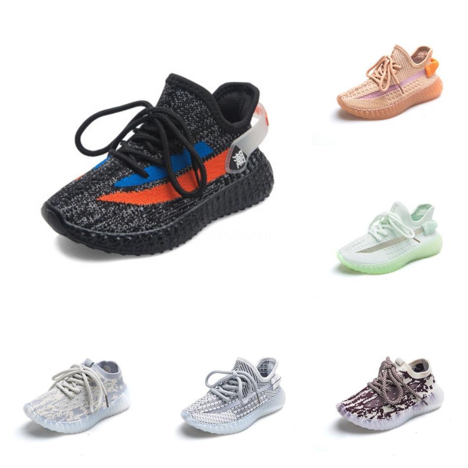Sneaker Esporte Running Shoes Crianças Children Yougth Kanye West Preto estática Reflective Creme Hyperspace Esporte sapatos tamanho 28-35 # 256