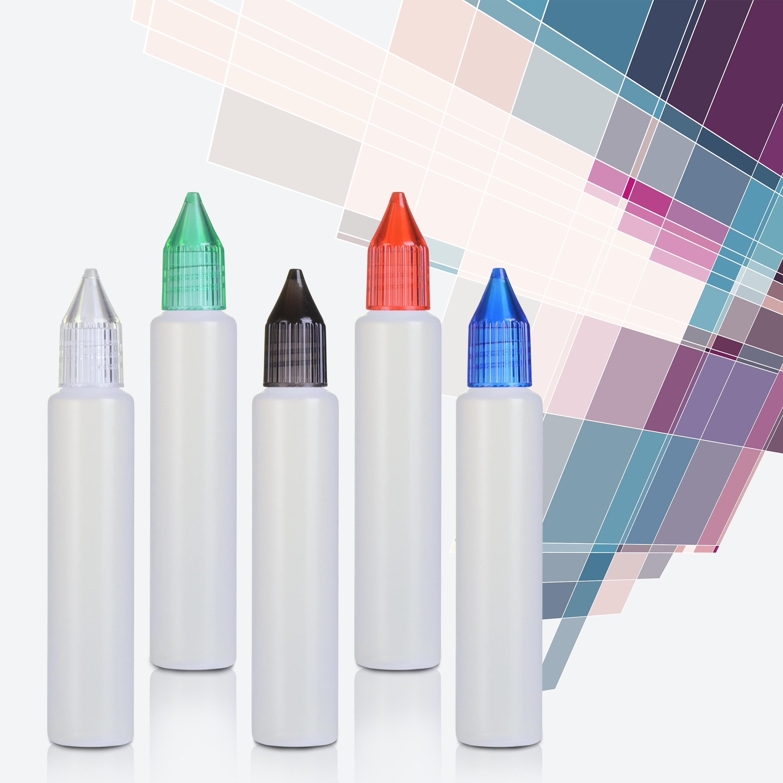 WOLFTEETH 5 X 15ml / 30ML Style Pen Rechargeables Unicorn Dropper Bouteille, PE Bouteille E-liquide avec buse applicateur, couleurs mélangées 1190